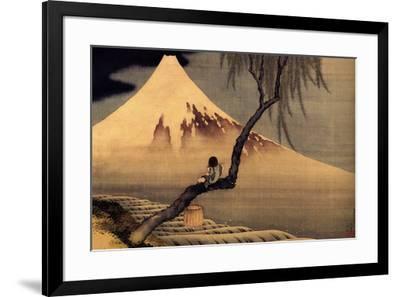 Katsushika Hokusai A Boy in front of Fujiama-Katsushika Hokusai-Framed Art Print
