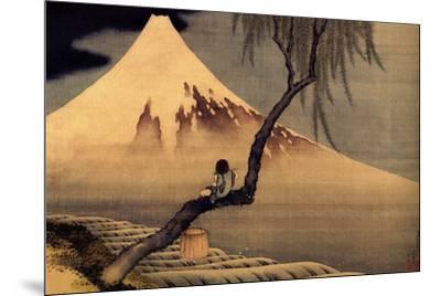 Katsushika Hokusai A Boy in front of Fujiama-Katsushika Hokusai-Mounted Art Print