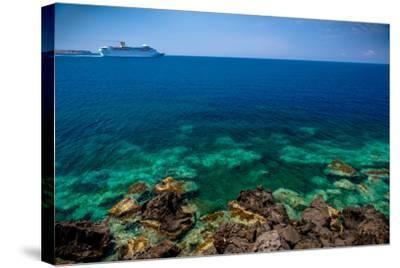 Cruise Ship beyond Reef-EvanTravels-Stretched Canvas Print