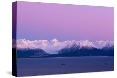 Pink Sky over Grewingk Glacier-Latitude 59 LLP-Stretched Canvas Print