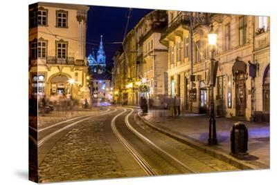 Rynok Square in Lviv at Night-bloodua-Stretched Canvas Print