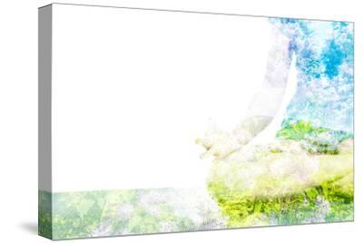 Nature Harmony Healthy Lifestyle Concept - Double Exposure Clouse up Image of Woman Doing Yoga Asa-f9photos-Stretched Canvas Print
