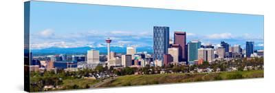 Panorama of Calgary and Rocky Mountains-benkrut-Stretched Canvas Print