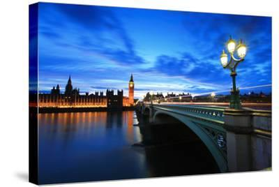 Big Ben London at Night-aslysun-Stretched Canvas Print