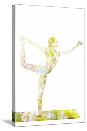 Nature Harmony Healthy Lifestyle Concept - Double Exposure Image of Woman Doing Yoga Asana Lord Of-f9photos-Stretched Canvas Print