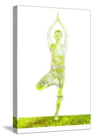 Nature Harmony Healthy Lifestyle Concept - Double Exposure Image of Woman Doing Yoga Tree Pose Asan-f9photos-Stretched Canvas Print