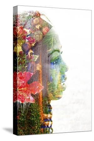 Double Exposure Portrait of A Young Woman with Colorful Flowers-illu-Stretched Canvas Print