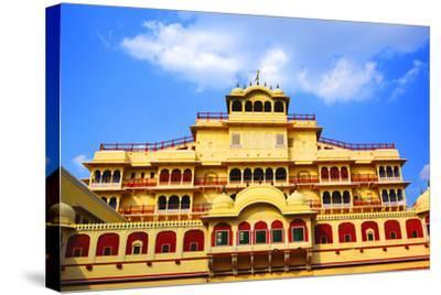 Chandra Mahal in City Palace, Jaipur,-prasenjeet1-Stretched Canvas Print