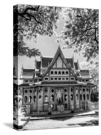 BW Infrared Photo Hua Hin Train Station Thailand-Nelson Charette-Stretched Canvas Print