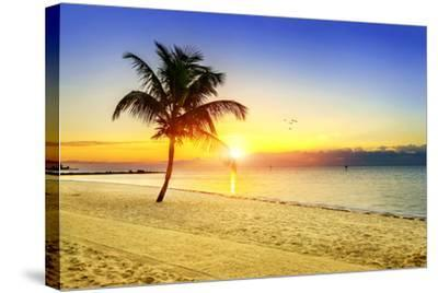 Sunset on the Beach-vent du sud-Stretched Canvas Print
