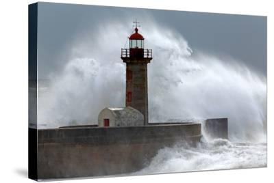Huge Wave over Lighthouse-Zacarias da Mata-Stretched Canvas Print