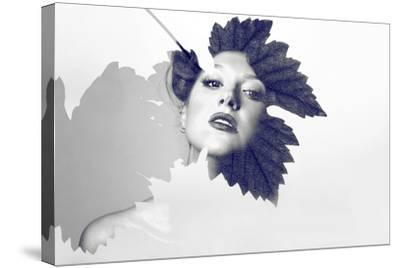 Double Exposure of Beautiful Caucasian Woman-nenetus-Stretched Canvas Print
