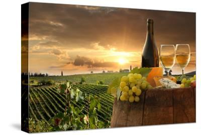 White Wine with Barrel on Vineyard in Chianti, Tuscany, Italy-extravagantni-Stretched Canvas Print