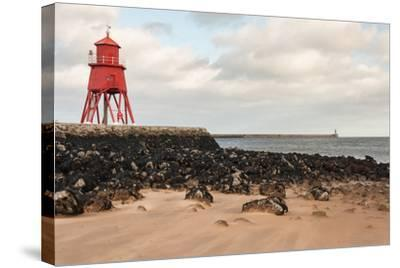 Herd Groyne Lighthouse in South Shields-Patrik Stedrak-Stretched Canvas Print
