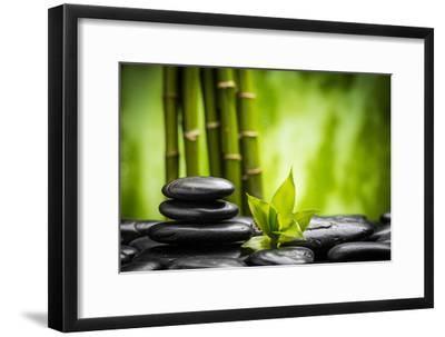 Zen Basalt Stones and Bamboo-scorpp-Framed Premium Photographic Print
