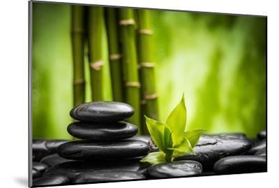 Zen Basalt Stones and Bamboo-scorpp-Mounted Premium Photographic Print