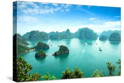 Halong Bay in Vietnam. Unesco World Heritage Site.-cristaltran-Stretched Canvas Print