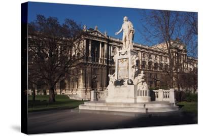 Statue of Mozart in Burggarten in Vienna-salparadis-Stretched Canvas Print