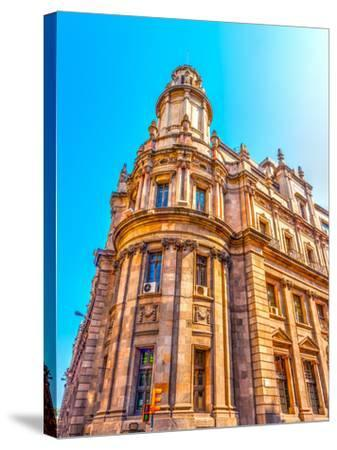 Old Buildings Atthe Center of Barcelona in Spain. HDR Processed-imagIN photography-Stretched Canvas Print
