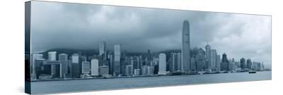 Urban Architecture in Hong Kong Victoria Harbor with City Skyline and Cloud in the Day in Black And-Songquan Deng-Stretched Canvas Print