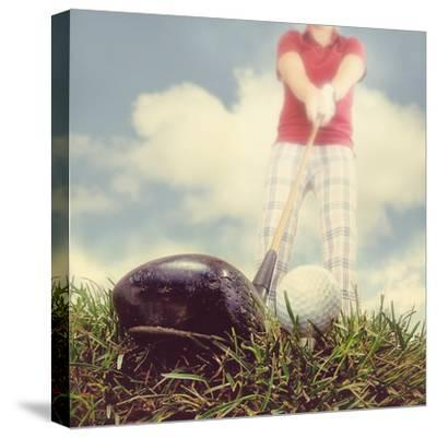 A Person Playing Golf-graphicphoto-Stretched Canvas Print