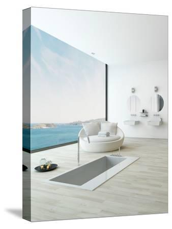 Modern Floor Bathtub Against Huge Window with Seascape View-PlusONE-Stretched Canvas Print