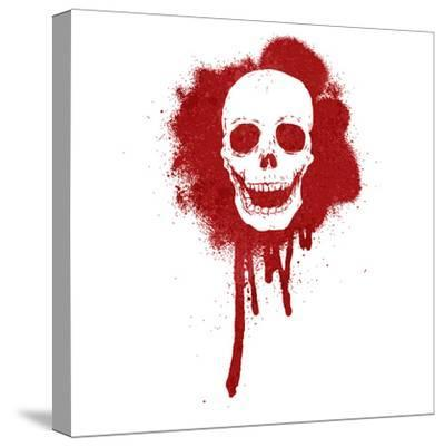 Graffiti Skull Blood Red-lineartestpilot-Stretched Canvas Print