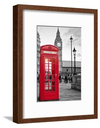 A Traditional Red Phone Booth In London With The Big Ben In A Black And White Background-Kamira-Framed Premium Photographic Print