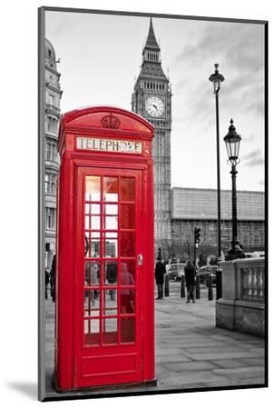 A Traditional Red Phone Booth In London With The Big Ben In A Black And White Background-Kamira-Mounted Premium Photographic Print