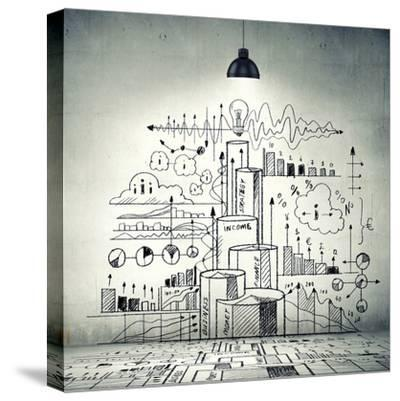 Drawn Business Plan on Wall Illuminated by Lamp-Sergey Nivens-Stretched Canvas Print
