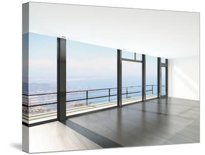 Empty Room Interior with Floor to Ceiling Windows and Scenic View-PlusONE-Stretched Canvas Print