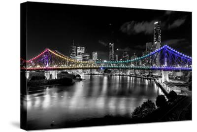 Brisbane Story Bridge by Night-David Bostock-Stretched Canvas Print