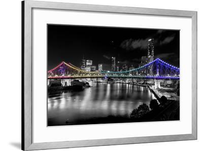 Brisbane Story Bridge by Night-David Bostock-Framed Premium Photographic Print