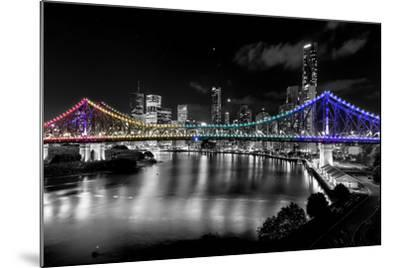 Brisbane Story Bridge by Night-David Bostock-Mounted Premium Photographic Print