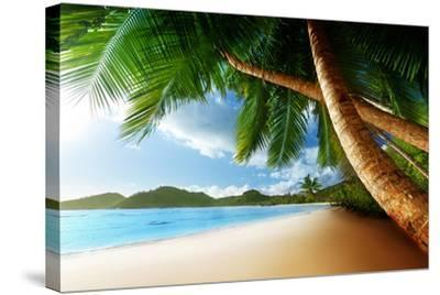 Sunset on Beach Anse Takamaka of Mahe Island, Seychelles-Iakov Kalinin-Stretched Canvas Print