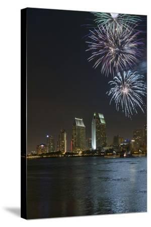 San Diego Bay Fireworks-lpound-Stretched Canvas Print