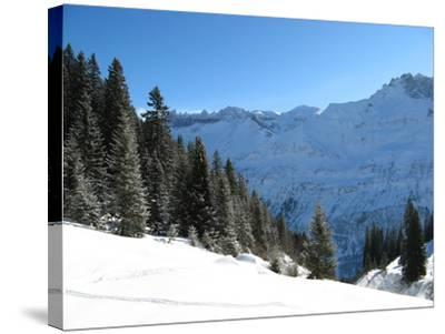 Winter Landscape (Winter in Swiss Alps)-swisshippo-Stretched Canvas Print