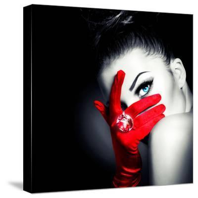 Beauty Fashion Glamorous Model Girl Portrait-Subbotina Anna-Stretched Canvas Print