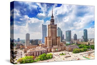 Warsaw, Poland. Aerial View Palace of Culture and Science and Downtown Business Skyscrapers, City C-Michal Bednarek-Stretched Canvas Print