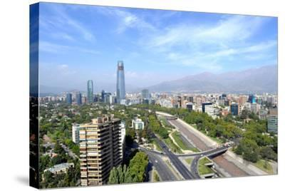 Skyline of Downtown Santiago, the Capital of Chile, Featuring 300-Meter High Gran Torre Santiago, T-1photo-Stretched Canvas Print