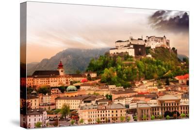 Dramatic Landscape before a Sunset over Salzburg, Austria-Maugli-l-Stretched Canvas Print