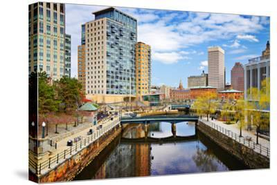 Providence, Rhode Island Cityscape at Waterplace Park.-SeanPavonePhoto-Stretched Canvas Print