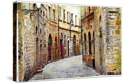 Streets of Medieval Towns of Tuscany. Italy-Maugli-l-Stretched Canvas Print