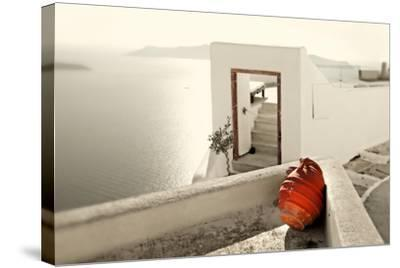 Romantic Holidays - Amazing Santorini . Artistic Toned Picture-Maugli-l-Stretched Canvas Print
