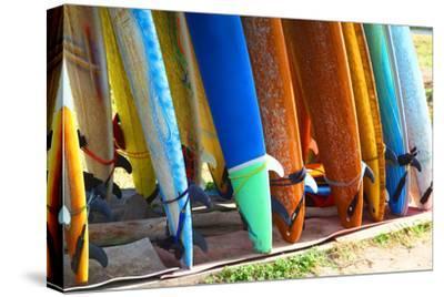 Surf Boards Standing on Kuta Bali Beach-bioraven-Stretched Canvas Print