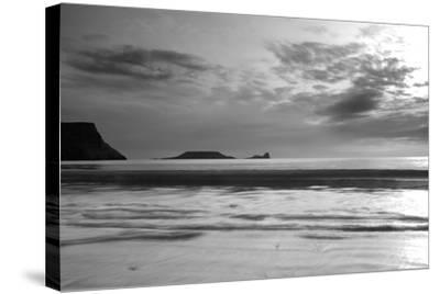 Monochrome Seascape, Rhossili, Gower, Wales.-Swellphotography UK-Stretched Canvas Print