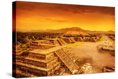 Pyramids of the Sun and Moon on the Avenue of the Dead, Teotihuacan Ancient Historic Cultural City,-Anna Omelchenko-Stretched Canvas Print