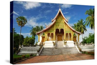 Temple in Luang Prabang Museum, Laos-lkunl-Stretched Canvas Print