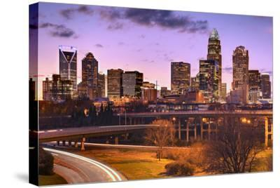 Skyline of Uptown Charlotte, North Carolina.-SeanPavonePhoto-Stretched Canvas Print