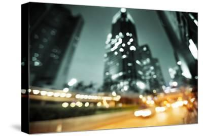 Night Lights of the Hong Kong out of Focus-Iakov Kalinin-Stretched Canvas Print